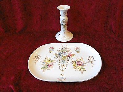 Crown Devon Antique 1914 -15 wye pattern dressing table tray & candlestick
