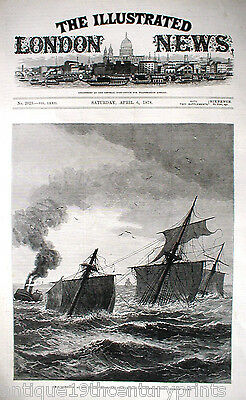 H.m.s. Eurydice Sinking Off Dunnose Point Isle Of Wight Rare Print - Year 1878