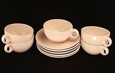 Russel Wright Iroquois Casual Pink Sherbet Set 5 Cups & Saucers - Mid Century