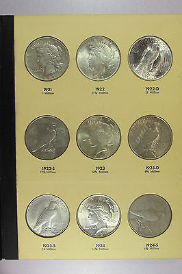 1921-1935 Complete Peace Dollar Set 24 Coins in Vintage Library of Coins Album A