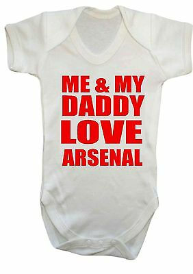 Baby boy girl Me & My Daddy Love Arsenal FOOTBALL COOL BABY BODYSUIT,vest,top
