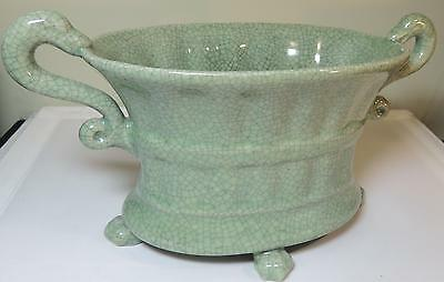 Chinese Jardiniere, Dragon Handles - Green Celadon Crackle Glazed Pottery