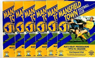 1992-1993 Mansfield Town Home Programmes - select the one you want POST FREE