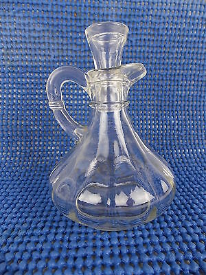 "Vintage Clear Glass Cruet with Stopper 5"" #2795"