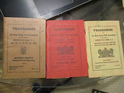 3 Nova Scotia Rifle Association BEDFORD Rifle Range PROGRAM 1952 ,53,54 NAMES