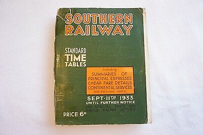 Sept 1933 Southern Railway Passenger Services Timetable