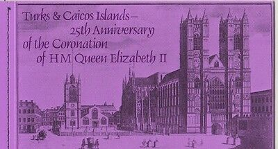 Turks & Caicos 25th Anni of QEII coronation Booklet self adhesives