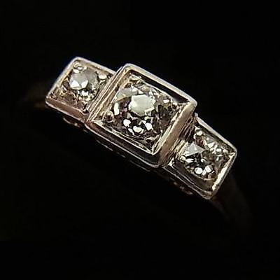 Antique Art Deco Era Platinum, 18Ct Gold & Diamond Trilogy Ring