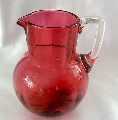 A FINE VICTORIAN WATER JUG CRANBERRY & CLEAR GLASS With Pontil C.1880