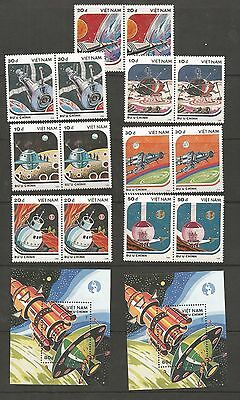 Vietnam Pairs Of Mint Space Craft And Miniature Sheets Ref 266
