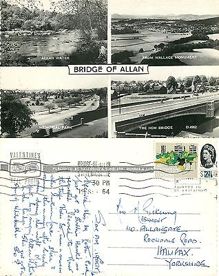 p1131 Bridge of Allan, Scotland postcard posted 1964 stamp RP