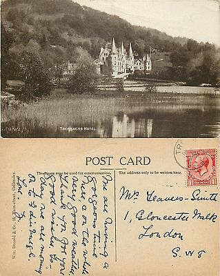 p1212 Trossachs Hotel, Scotland postcard posted 1920s stamp