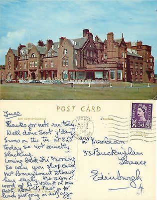 p1214 Marine Hotel, Troon, Scotland postcard posted 1966 stamp