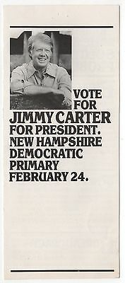 1976 PRESIDENT JIMMY CARTER New Hampshire Primary BROCHURE Political NH Flyer