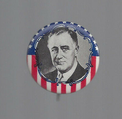 1936 or 1940 FDR ROOSEVELT r/w/b STARS & STRIPES PICTURE CAMPAIGN BUTTON