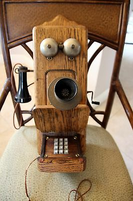 Antique OAK Wall Telephone - Push Button Dial - Hook Up ready, Use it NOW!