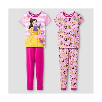 Disney Beauty And The Beast Belle Pink Pajamas Size 4 6 8 10 New!