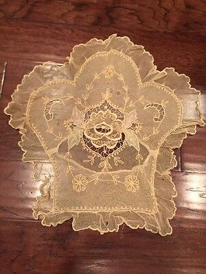 Vintage French Net Lace Tambour Pillow Cover With Floral Embroidery