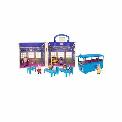 NEW Peppa Pig Back to School classroom bus playset Peppa's house
