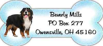 Bone Shaped Bernese Mountain Dog return address labels WATERPROOF laser