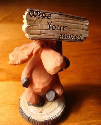 Faux Wood Carved MOOSE WIPE YOUR HOOVES LODGE SIGN Cabin Home Decor Figurine