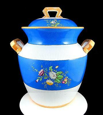 """Old English Antique Floral Blue And White 14 7/8"""" Lidded Slop Chamber Pot 1877"""