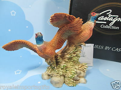"Castagna 2 Pheasants In Flight Figurine, 7 x 7"", New + Box & Certificate, Italy"