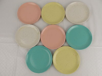 "Vtg Imperial Ware 6"" Plates Speckled Pastel Melmac Lot of 8 Mixed Colors #2907"