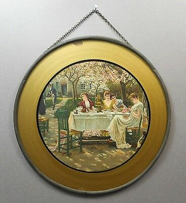 Antique Victorian Chimney Flue Cover Gold Glass Litho Print Garden Party Scene