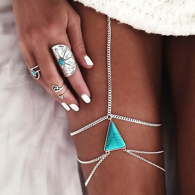 1 Pair New Exaggerated Personality Multi-Layer Tassel Turquoise Thigh Chain