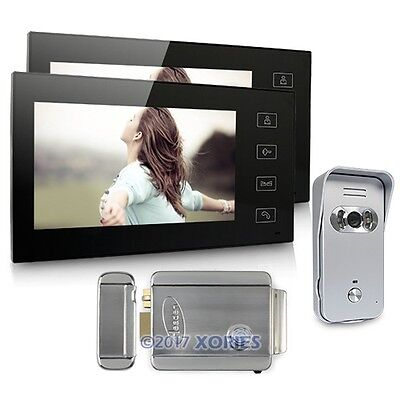 """7"""" Video Door Phone Intercom System 1V2 With Electronic Lock For Home Security"""