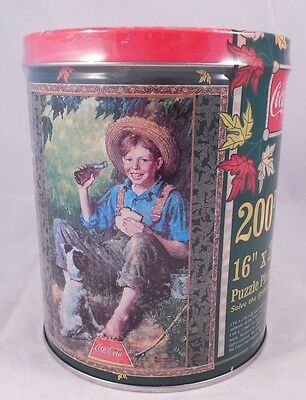 1998 Coca Cola Puzzle In Cylinder Shape Tin 200 pc. Puzzle
