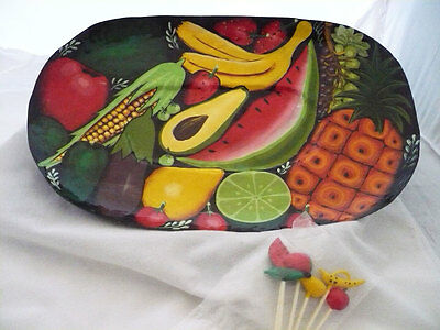 Metal Vegetable or Fruit Serving Tray with matching picks Ten 10,000 Villages