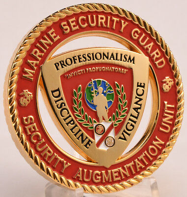 "2"" Challenge Coin USMC MSAU MSG Marine Embassy Security Guard Augmentation Unit"