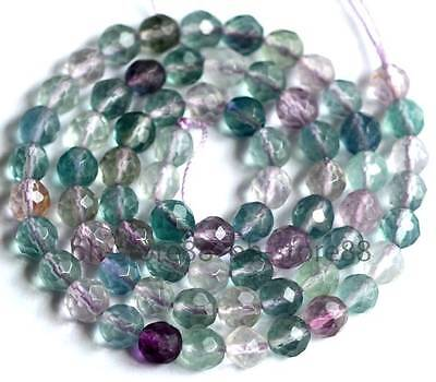 Cut 6mm Natural Multicolor Fluorite 64 Faceted Gemstone Beads 15''