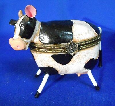 "Novelty Trinket Box COW  3"" x 3 1/2"" Metal ears & tail Resin body"