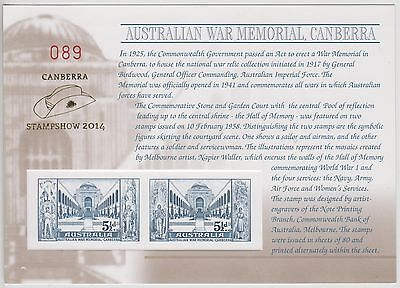 Aust War Memorial Replica Card - O/p Canberra Stampshow 2014 (Jd5470)
