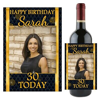 Personalised Happy Birthday Wine Champagne Bottle Label N106 18th 21st 30th 40th