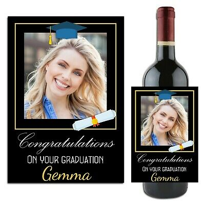 Personalised University Graduation Wine Champagne Bottle Label Gift for her N111