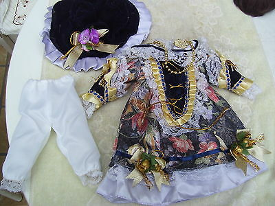 Alte Puppenkleidung Violet Fancy Dress Outfit vintage Doll clothes 40 cm Girl