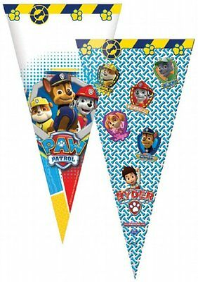 12 Boys Paw Patrol Sweet Cones Party Cello Bags Kids Childrens Birthday Favours