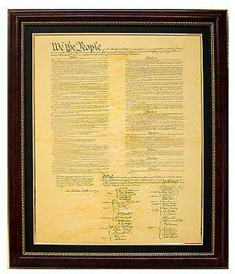 Constitution Of The United States Reproduction On Aged Parchment Framed & Matted