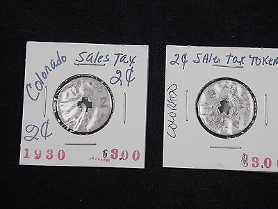 Colorado State Issued Sales Tax Token 2 Cents Lot of 2