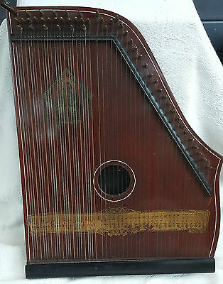 Antique SCHUTE MARKE ZITHER Piano Harp c1900's in original box / adjusting key