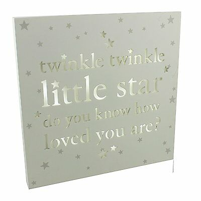 Bambino Baby Shower Light Up LED Nursery MDF Wall Plaque - Twinkle Twinkle Littl