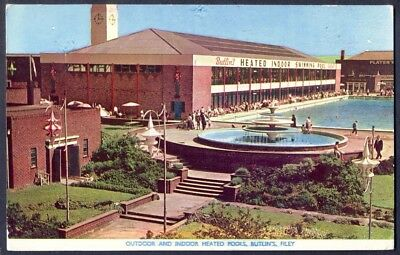 SWIMMING POOLS at BUTLINS HOLIDAY CAMP, FILEY. 1958 Vintage Postcard