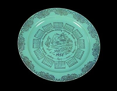 "Taylor, Smith & Taylor - LuRay Pastel Blue 1958 - 10"" Calender Plate - Nice!"