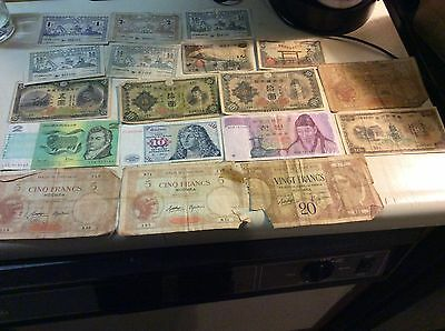 Lot Of War Time Foreign Currency Notes
