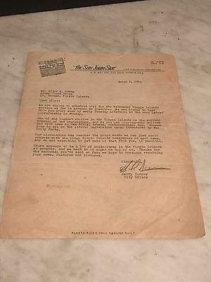 The San Juan Star Puerto Rico Signed Letter Alton Adams St Thomas