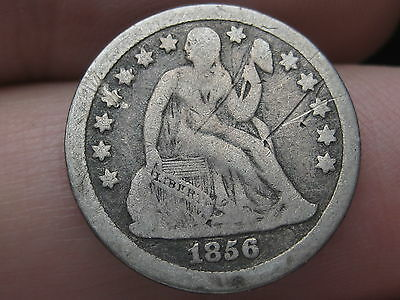 1856 Seated Liberty Dime- VG/Very Good Details- Small Date
